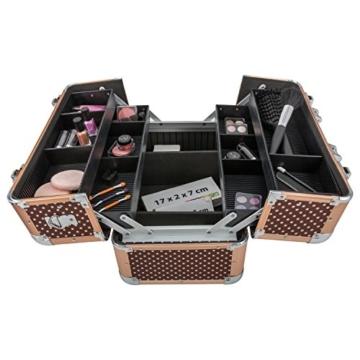 anndora Beauty Case Kosmetikkoffer Schmuckkoffer 21 Liter Alu braun mit Punkten -