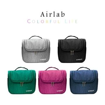Kulturbeutel zum Aufhängen, Airlab Kulturtasche mit Tragegriff und Haken, Größe: 24x 19,5 x 12,5cm, Schwarz -