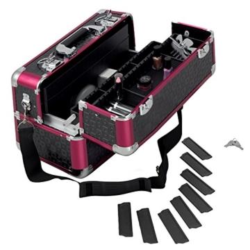 anndora Beauty Case Kosmetikkoffer Schminkkoffer Werkzeugkoffer Schwarz Rot Karo - 7