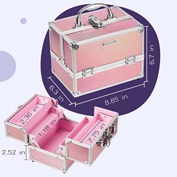 Kosmetikkoffer Schminkkoffer, Kosmetik Make up Organizer Koffer mit Spiegel Multikoffer Etagenkoffer, Mit Schlüssel und Spiegel verschließbar, Makeup Koffer Schminktasche, Kosmetiktasche Pink Rosa - 2