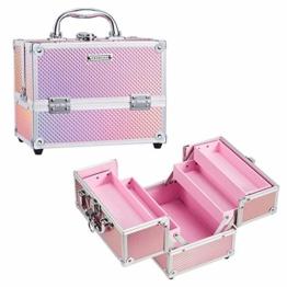 Kosmetikkoffer Schminkkoffer, Kosmetik Make up Organizer Koffer mit Spiegel Multikoffer Etagenkoffer, Mit Schlüssel und Spiegel verschließbar, Makeup Koffer Schminktasche, Kosmetiktasche Pink Rosa - 1
