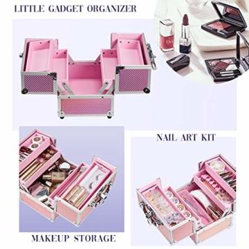 Kosmetikkoffer Schminkkoffer, Kosmetik Make up Organizer Koffer mit Spiegel Multikoffer Etagenkoffer, Mit Schlüssel und Spiegel verschließbar, Makeup Koffer Schminktasche, Kosmetiktasche Pink Rosa - 6