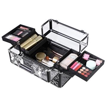 SONGMICS Kosmetikkasten Kosmetikkoffer, Professionell Kosmetik Aufbewahrung Multikoffer Etagenkoffer, Transparent Acrylglas klappbare FÄcher XL JBC318B - 2