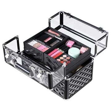 SONGMICS Kosmetikkasten Kosmetikkoffer, Professionell Kosmetik Aufbewahrung Multikoffer Etagenkoffer, Transparent Acrylglas klappbare FÄcher XL JBC318B - 5