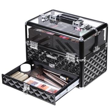 SONGMICS Kosmetikkasten Kosmetikkoffer, Professionell Kosmetik Aufbewahrung Multikoffer Etagenkoffer, Transparent Acrylglas klappbare FÄcher XL JBC318B - 6