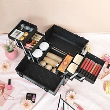 SONGMICS Kosmetikkoffer, Schminkkoffer, Make-up Aufbewahrung, Organizer für die Reise, für Friseure und Visagisten, Nähzubehör, abschließbare Box mit Tragegurt, Indigo-Rot JBC322QR - 7