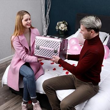SONGMICS Kosmetikkoffer Schminkkoffer Schminkaufbewahrung Beauty Case Schminkkasten Multikoffer Etagenkoffer mit Diamant-Muster Silbernes Pink 36 x 28 x 23 cm JBC319P - 3