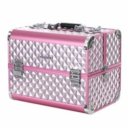 SONGMICS Kosmetikkoffer Schminkkoffer Schminkaufbewahrung Beauty Case Schminkkasten Multikoffer Etagenkoffer mit Diamant-Muster Silbernes Pink 36 x 28 x 23 cm JBC319P - 1