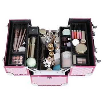 SONGMICS Kosmetikkoffer Schminkkoffer Schminkaufbewahrung Beauty Case Schminkkasten Multikoffer Etagenkoffer mit Diamant-Muster Silbernes Pink 36 x 28 x 23 cm JBC319P - 5