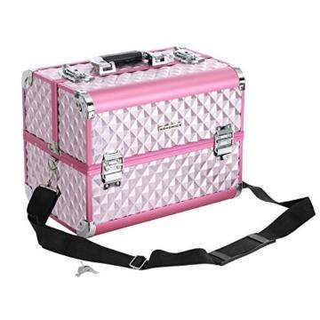 SONGMICS Kosmetikkoffer Schminkkoffer Schminkaufbewahrung Beauty Case Schminkkasten Multikoffer Etagenkoffer mit Diamant-Muster Silbernes Pink 36 x 28 x 23 cm JBC319P - 6