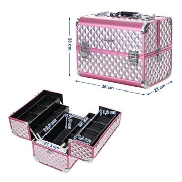 SONGMICS Kosmetikkoffer Schminkkoffer Schminkaufbewahrung Beauty Case Schminkkasten Multikoffer Etagenkoffer mit Diamant-Muster Silbernes Pink 36 x 28 x 23 cm JBC319P - 7