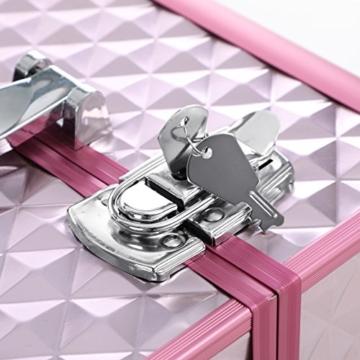 SONGMICS Kosmetikkoffer Schminkkoffer Schminkaufbewahrung Beauty Case Schminkkasten Multikoffer Etagenkoffer mit Diamant-Muster Silbernes Pink 36 x 28 x 23 cm JBC319P - 8