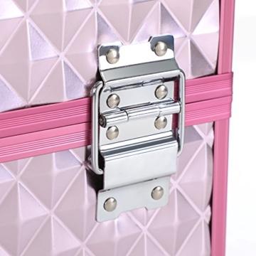 SONGMICS Kosmetikkoffer Schminkkoffer Schminkaufbewahrung Beauty Case Schminkkasten Multikoffer Etagenkoffer mit Diamant-Muster Silbernes Pink 36 x 28 x 23 cm JBC319P - 9